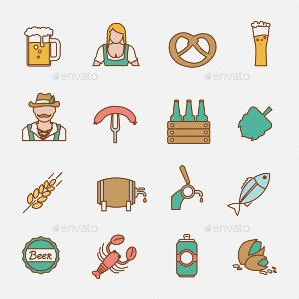 GraphicRiver Beer Icons Set Flat Line 8941452