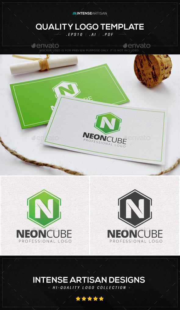 GraphicRiver Neon Cube Logo Template 8941461