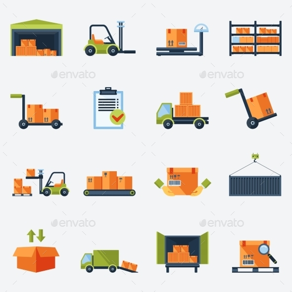 GraphicRiver Warehouse Icons Flat 8941496