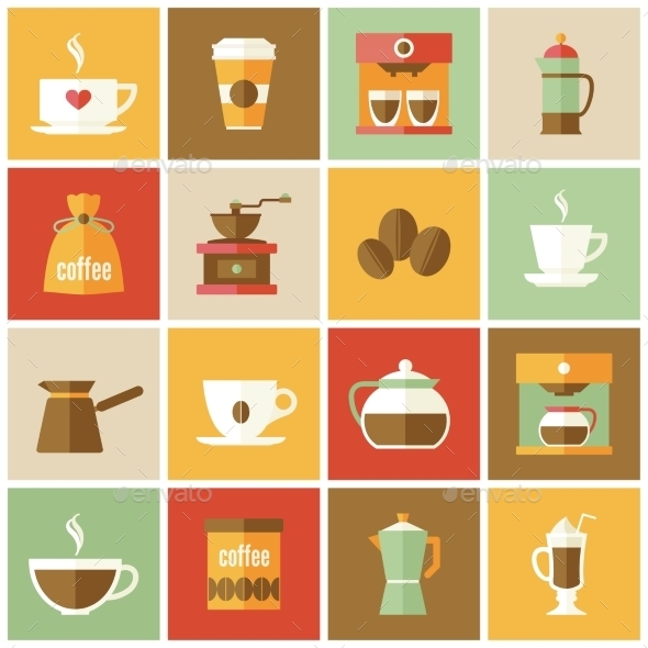 GraphicRiver Coffee Icons Flat Set 8941541