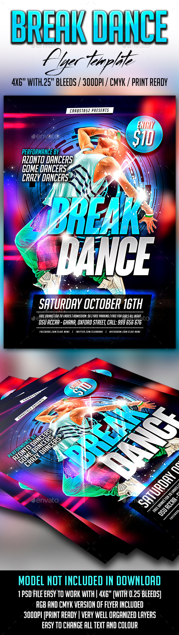 GraphicRiver Break Dance Flyer Template 8941633
