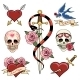 Various Heart Skull and Dagger Tattoo Graphics - GraphicRiver Item for Sale
