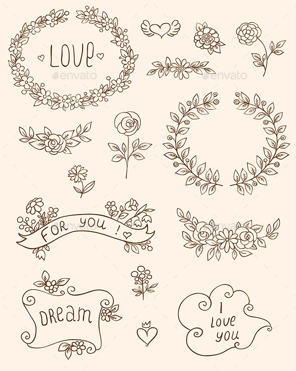 GraphicRiver Romantic Doodle Elements 8942227
