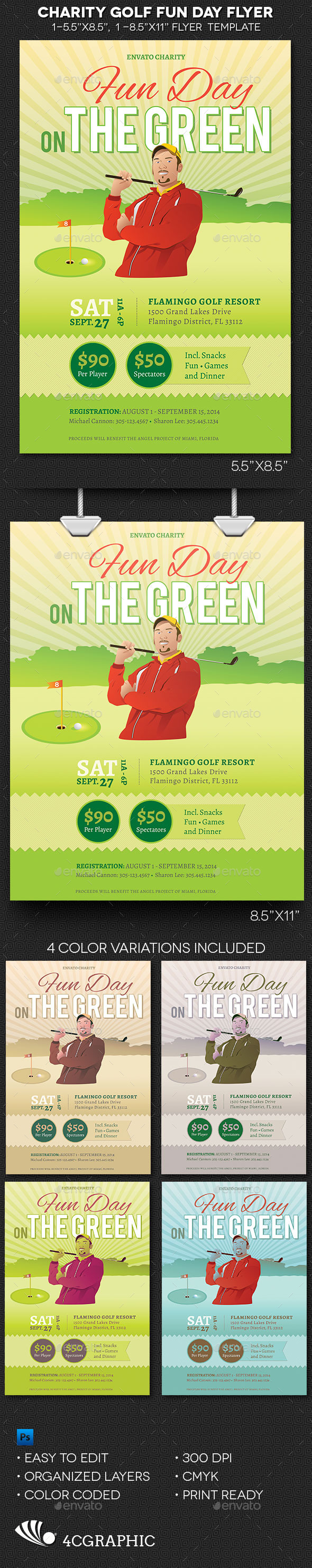 GraphicRiver Charity Golf Fun Day Flyer Template 8942637