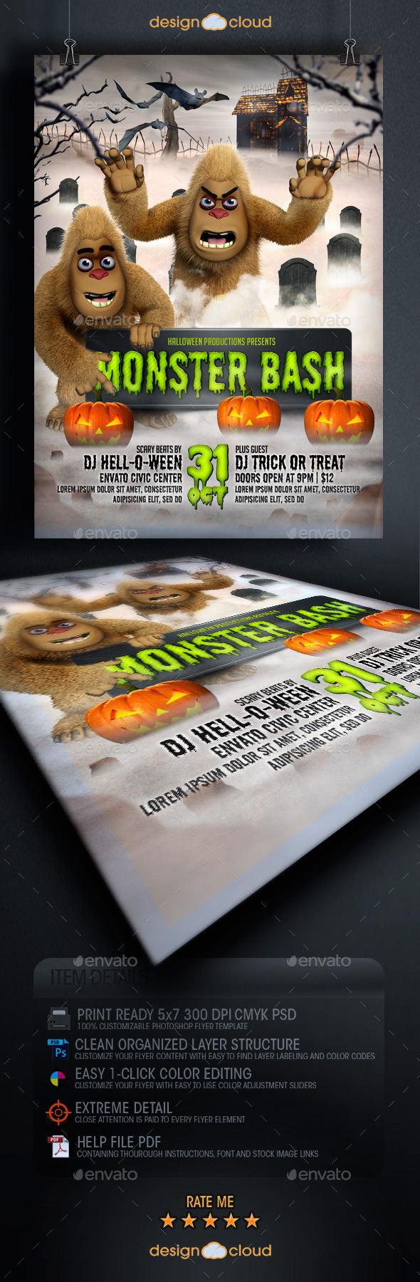 GraphicRiver Halloween Monster Bash Flyer Template 8929969