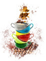 Watercolor Image Of Coffee Cups - PhotoDune Item for Sale