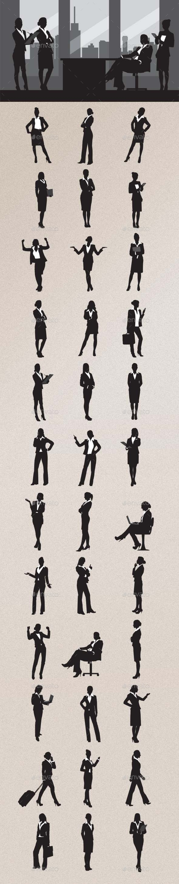 GraphicRiver Business Woman Silhouettes 8943538
