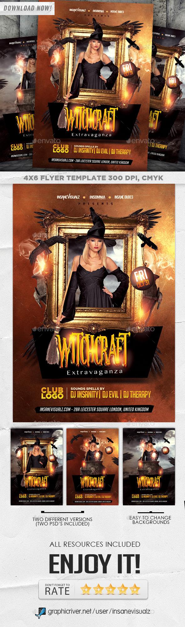 GraphicRiver Witchcraft Extravaganza Halloween Flyer 8943790