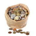 Money bag with coins isolated over white - PhotoDune Item for Sale