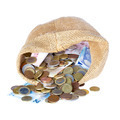 Money bag with coins and banknotes isolated over white - PhotoDune Item for Sale