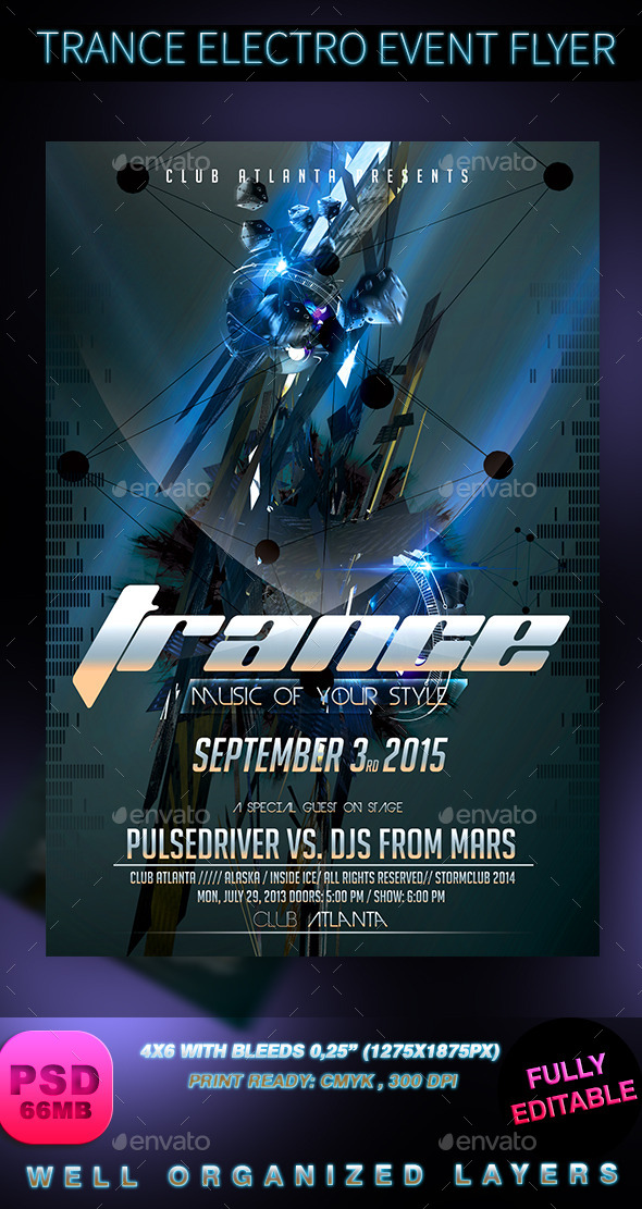 GraphicRiver Trance Electro Event Flyer 8944238