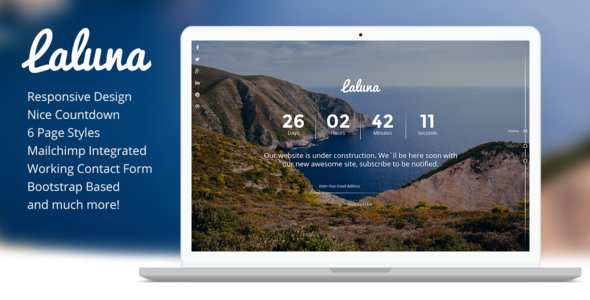 Laluna - Responsive Coming Soon Template - Under Construction Specialty Pages