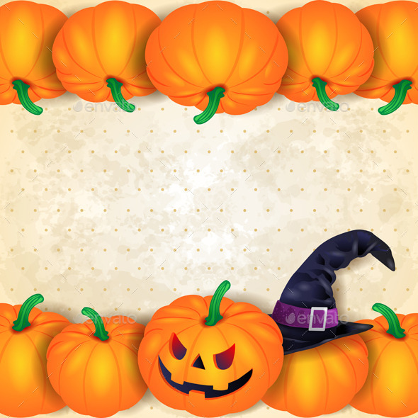 GraphicRiver Halloween Background with Border of Pumpkins 8944337