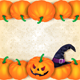 Halloween Background with Border of Pumpkins - GraphicRiver Item for Sale
