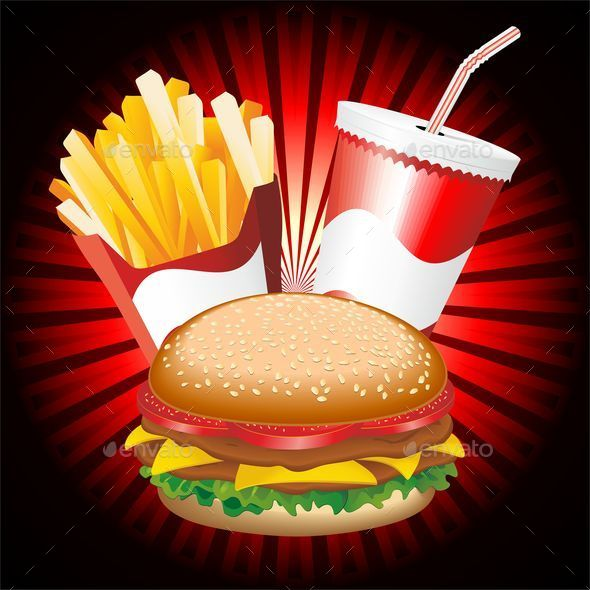 GraphicRiver Fast Food Hamburger Fries and Drink Menu 8944854
