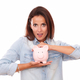 Fashionable latin lady with her pink home finance - PhotoDune Item for Sale
