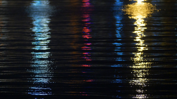 Boat On Sea And Reflected Lights On Sea Waves 3