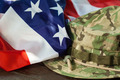 US flag and combat camouflage hat - PhotoDune Item for Sale