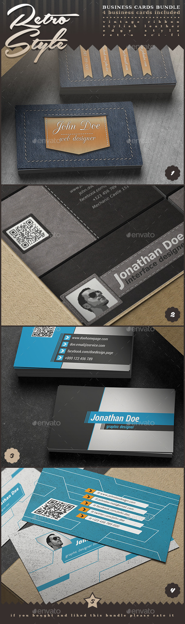 GraphicRiver Retro Style Business Cards Bundle 8946041
