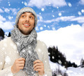 handsome man in warm sweater, hat and scarf - PhotoDune Item for Sale