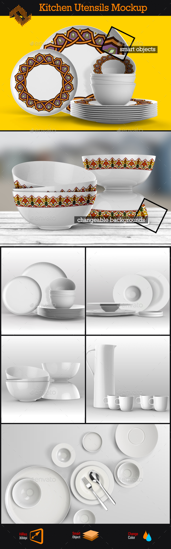 GraphicRiver Kitchen Utensils Dishes Mockup 8946435