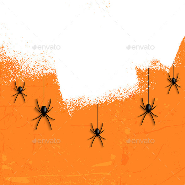 GraphicRiver Grunge Halloween Spiders 8946436