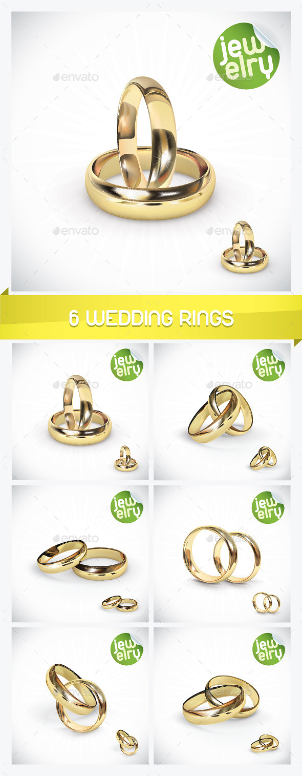 GraphicRiver 6 Gold Wedding Rings 8946447