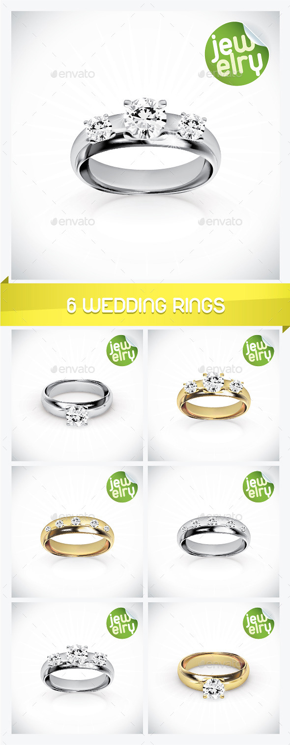 GraphicRiver 6 Wedding Rings 8946454