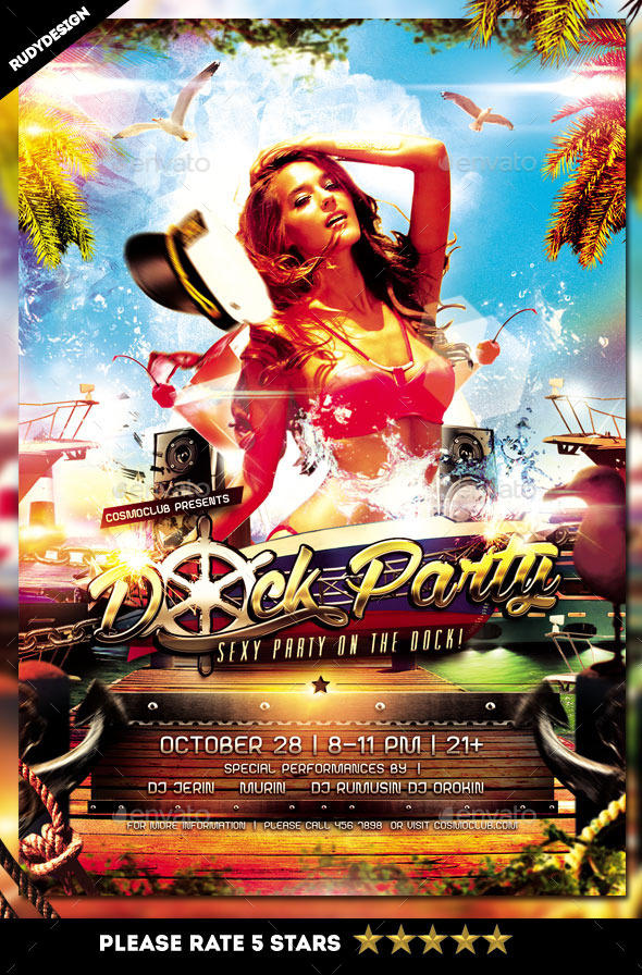GraphicRiver Dock Party Boat Party Flyer Design 8927883