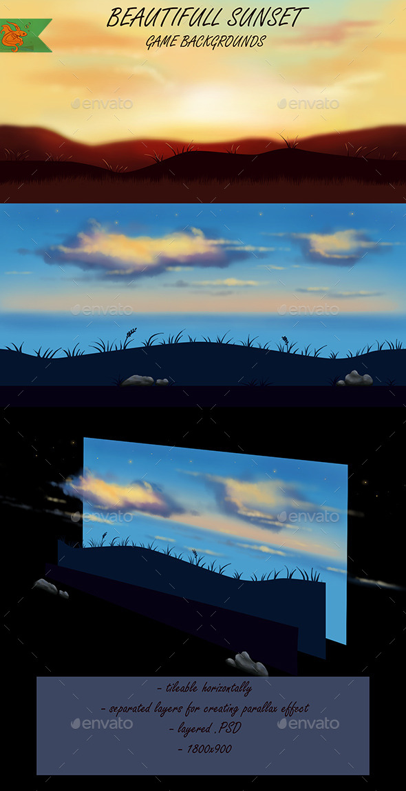 GraphicRiver Sunset Game Backgrounds 8946779