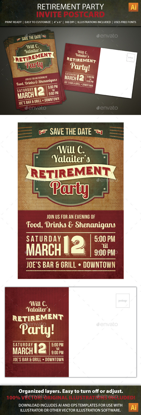 GraphicRiver Retirement Party Postcard Invitation 8947702