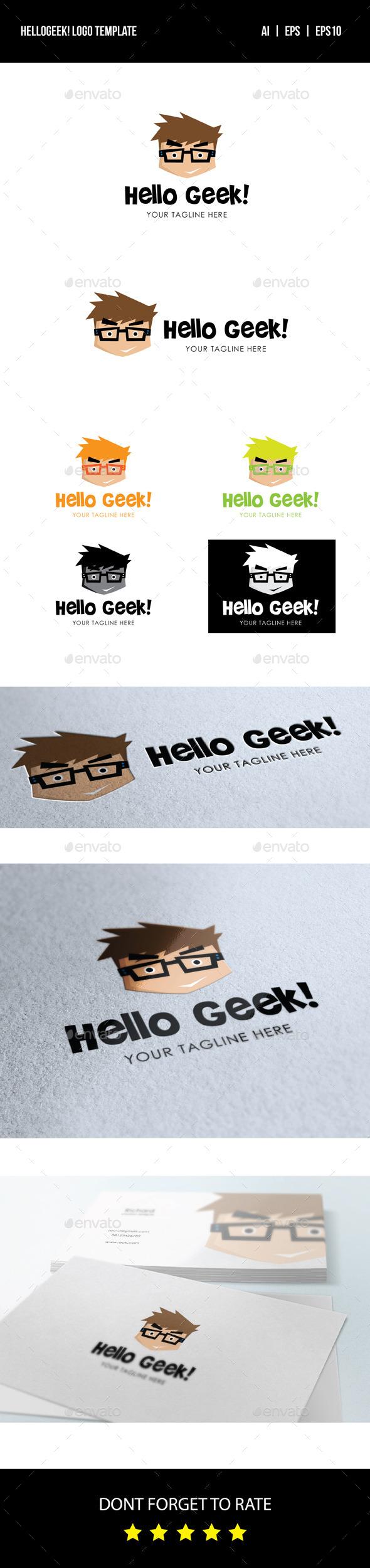 GraphicRiver Hello Geek Logo 8947845