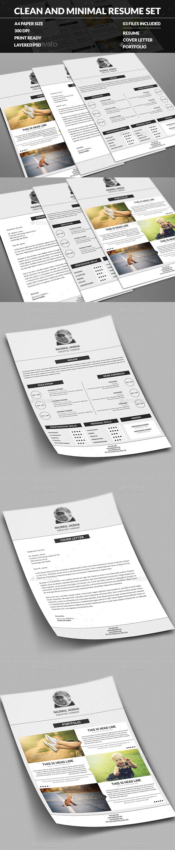 GraphicRiver Clean and Minimal Resume Set 8947959