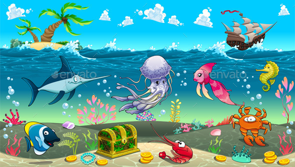 GraphicRiver Scene Under the Sea 8948335
