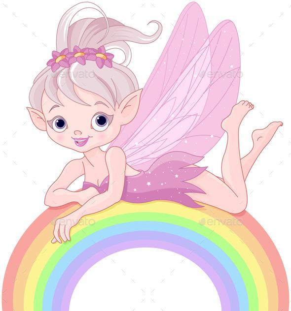 GraphicRiver Pixie Fairy on Rainbow 8948507