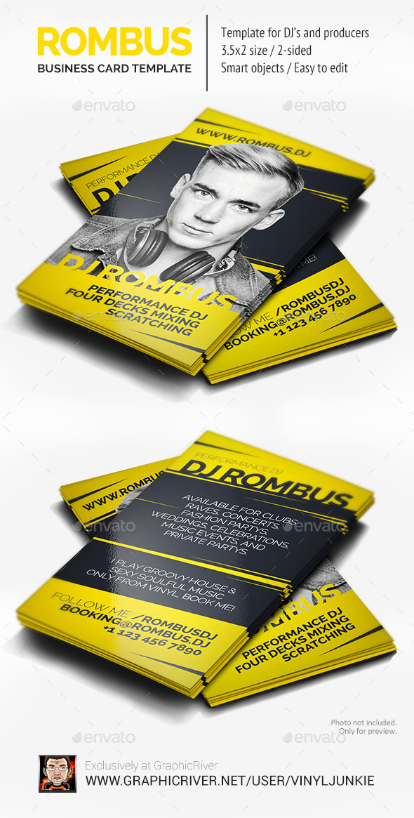 GraphicRiver Rombus DJ Business Card 8948626