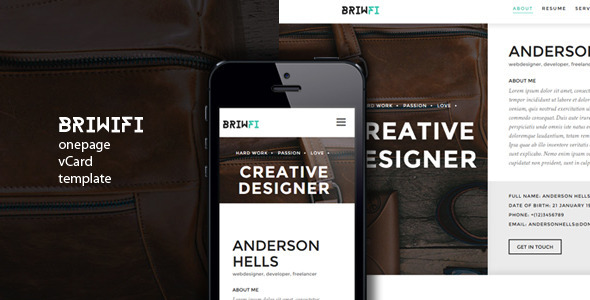 ThemeForest Briwfi Onepage vCard Template 8851366