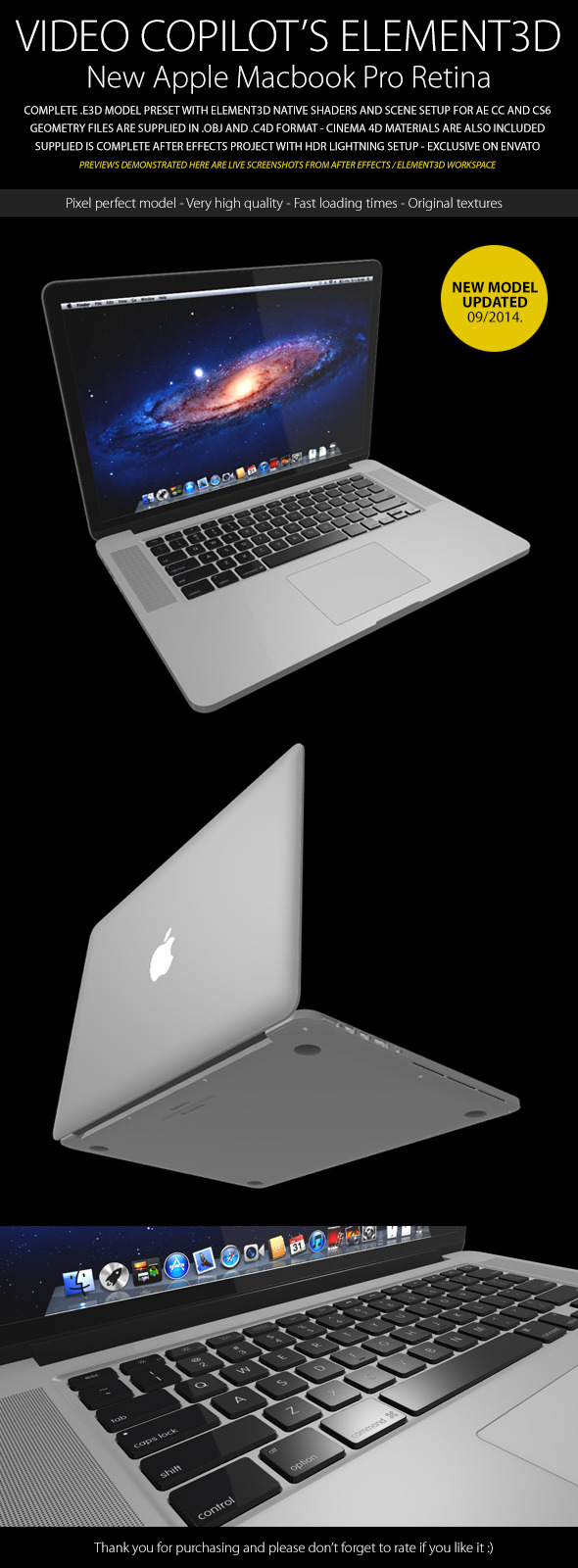 Element3D - Apple Macbook Pro Retina - 3DOcean Item for Sale