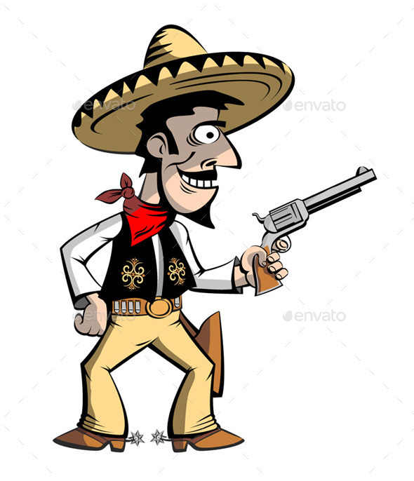 GraphicRiver Cowboy Mexican in Sombrero 8948900