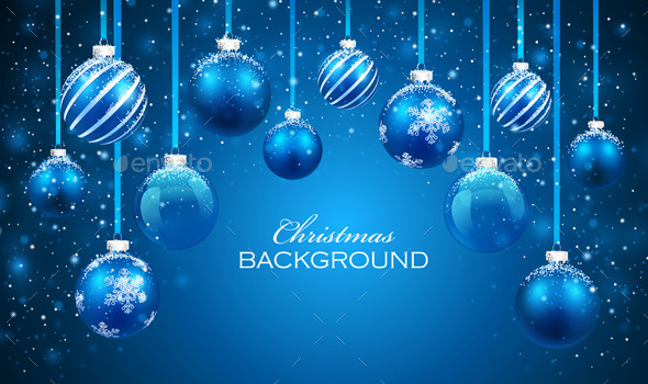 GraphicRiver Christmas Balls on Blue Background 8948925