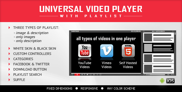 CodeCanyon Universal Video Player YouTube Vimeo Self-Hosted 8949390