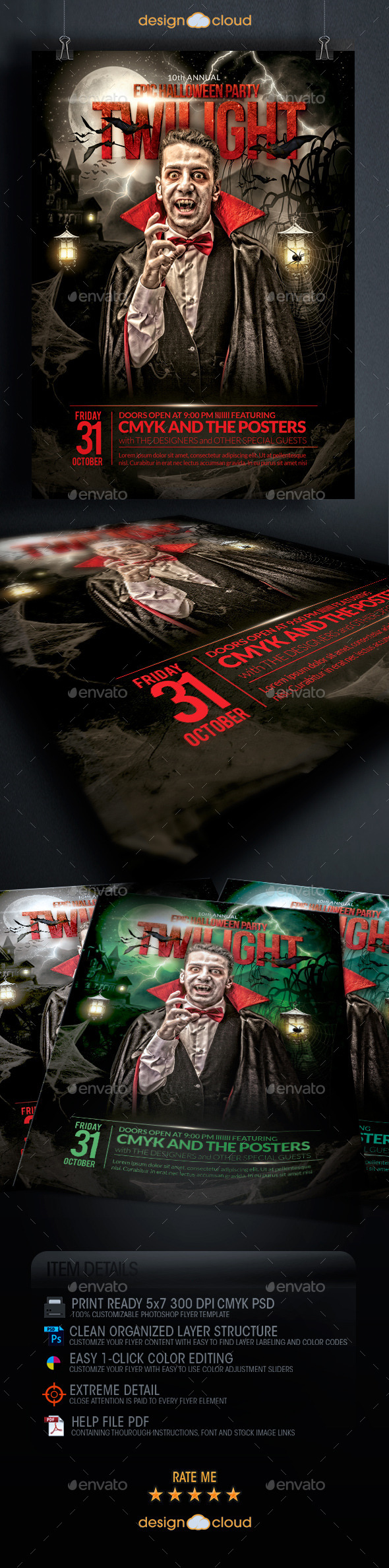 GraphicRiver The Epic Twilight Halloween Party Flyer Template 8949416