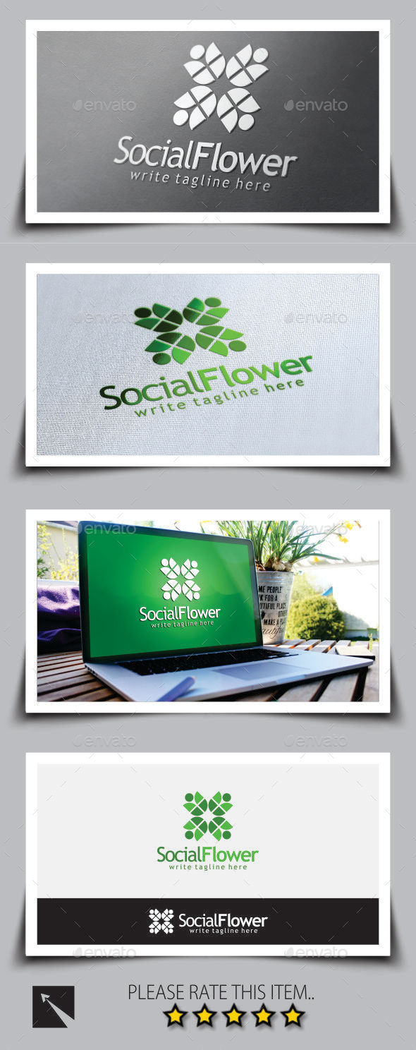 GraphicRiver Social Flower Logo Template 8949661