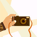 Hand taking selfie shot with retro photo camera modern illustration flat design - PhotoDune Item for Sale