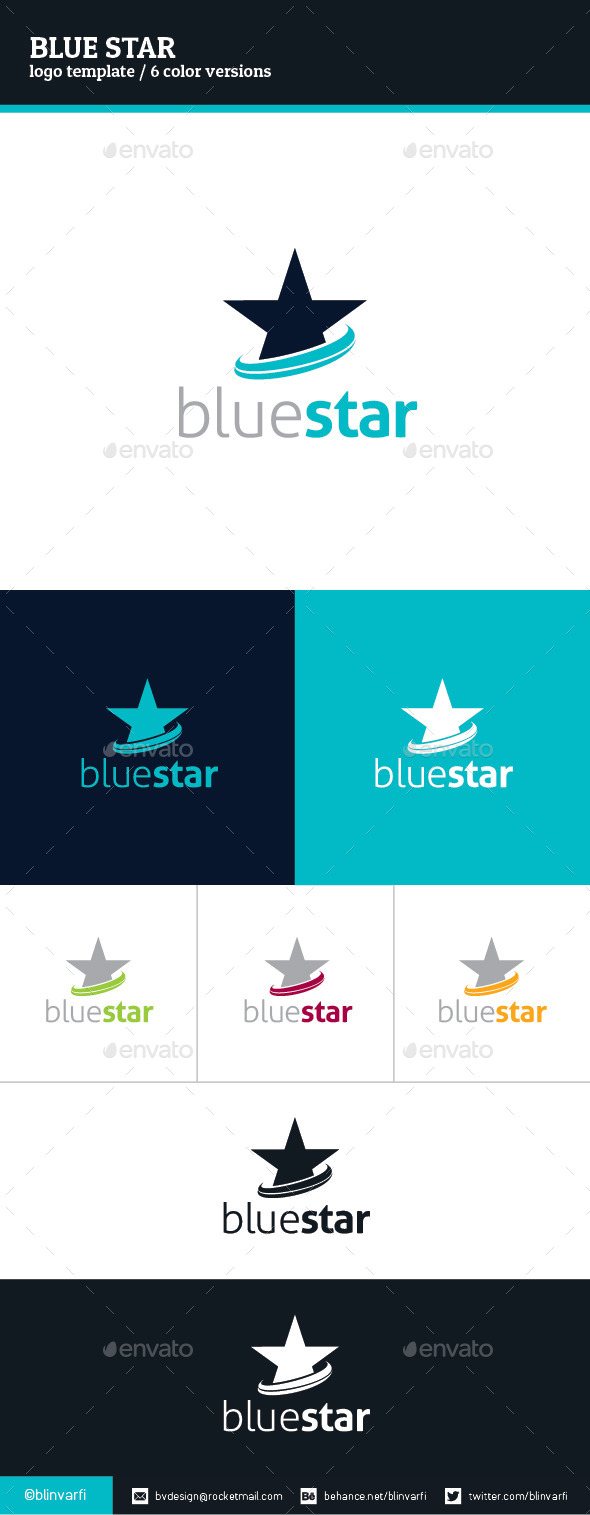 Blue Star Logo Template - Symbols Logo Templates