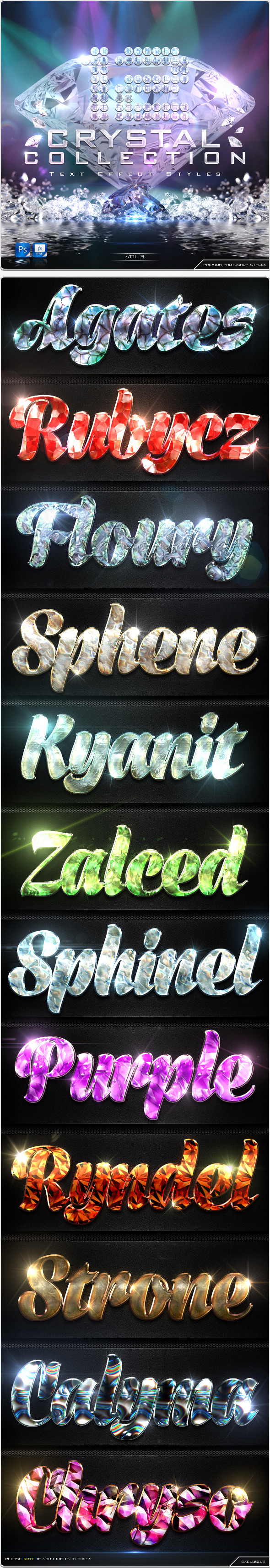 GraphicRiver 12 Crystal Collection Text Effect Styles Vol.3 8950569