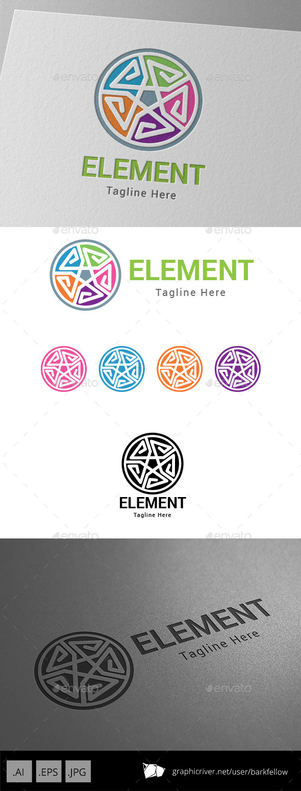 GraphicRiver E Letter Five Element Logo 8950805