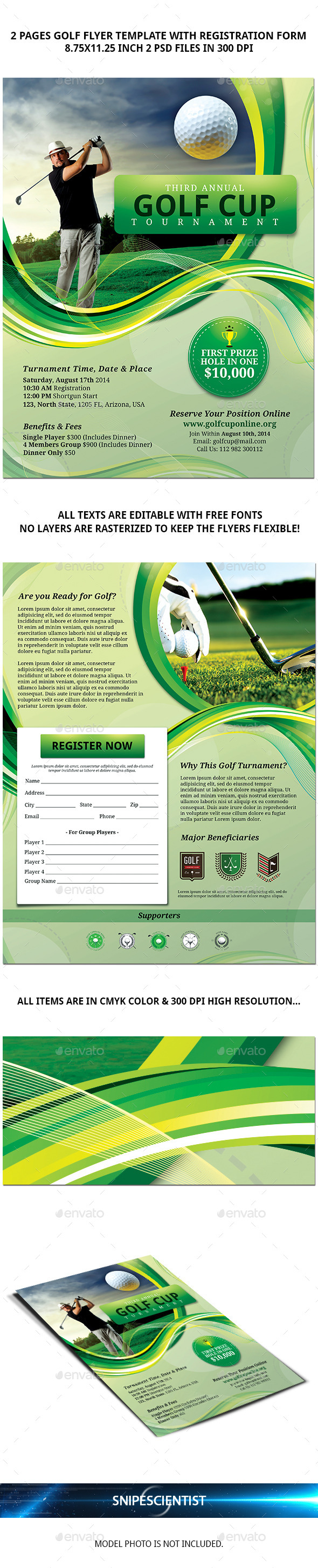 GraphicRiver Golf Flyer Template with Registration Form 8950983