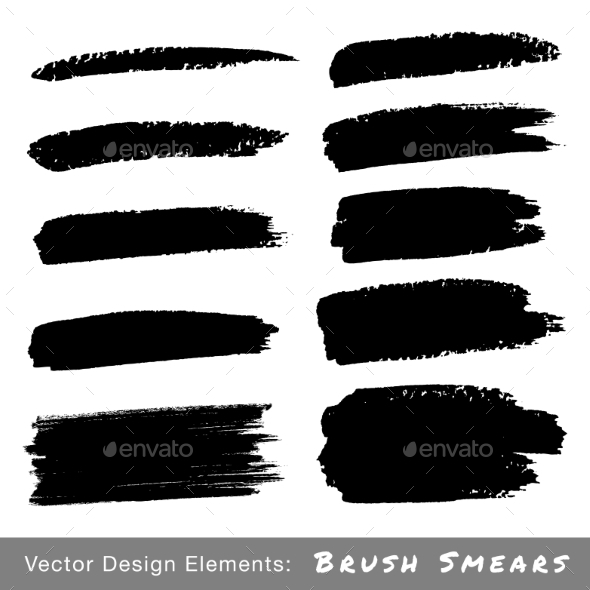 GraphicRiver Set of Hand Drawn Grunge Brush Smears 8951117
