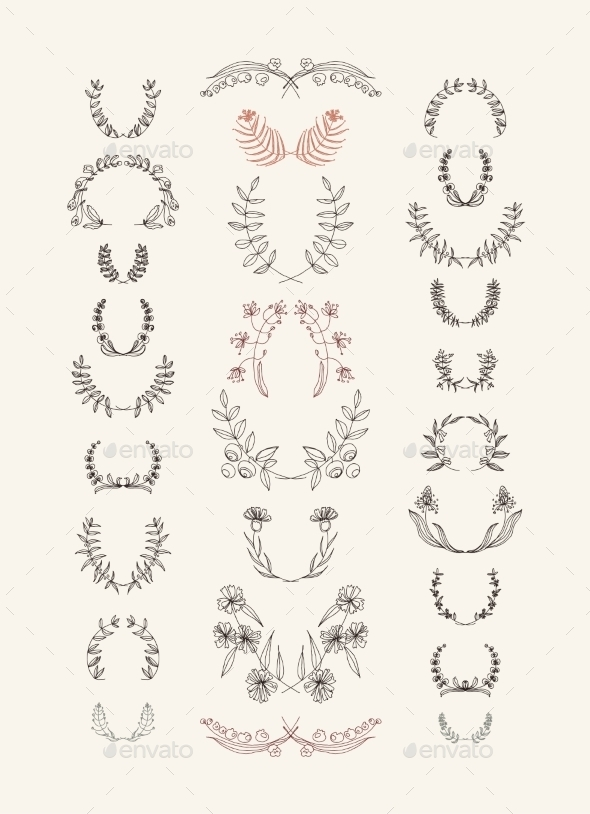 GraphicRiver Set of Symmetrical Floral Graphic Design Elements 8951406